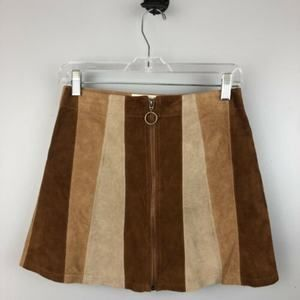 White Crow Leather Zip Striped Patch Skirt Size XS
